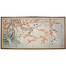 Birds and Flowers of Longevity 4 Panel Room Divider