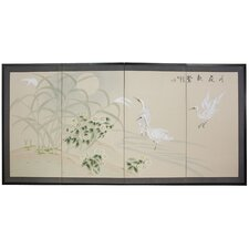 <strong>Oriental Furniture</strong> Cranes in Full Moon 4 Panel Room Divider