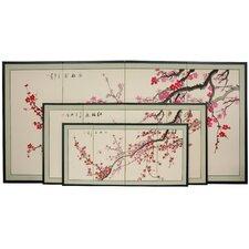 "24"" Plum Blossom 4 Panel Room Divider"