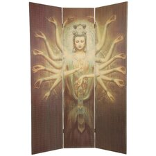 "70.25"" x 46.5"" Bamboo Tree Thousand Arm Kwan Yin 3 Panel Room Divider"