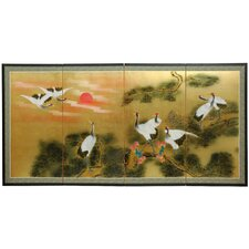 "36"" Gold Leaf Sunset Cranes Silk Screen with Bracket"