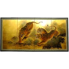 "36"" Gold Leaf Tigers on the Move Silk Screen with Bracket"
