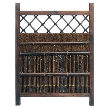 Japanese Dark Stain Wood and Bamboo Garden Gate