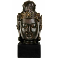 "16"" Large Cambodian Buddha Head Statue in Faux Antique Bronze Patina"