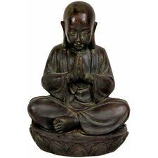 "16"" Sitting Japanese Zen Monk Statue in Black"