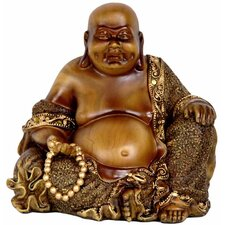 "6"" Sitting Laughing Buddha Statue in Faux Wood Carved"