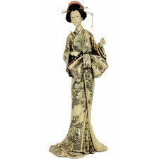 <strong>Oriental Furniture</strong> Geisha With Large Bow Kimono Figurine