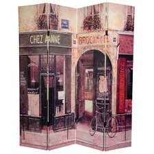 "72""  Double Sided French Cafe Canvas 4 Panel Room Divider"
