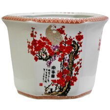 Round Flower Pot Planter with Cherry Blossom Design