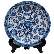 <strong>Oriental Furniture</strong> Floral Decorative Plate in Blue and White