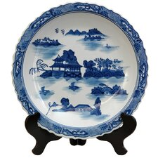 <strong>Oriental Furniture</strong> Landscape Decorative Plate in Ming Blue and White