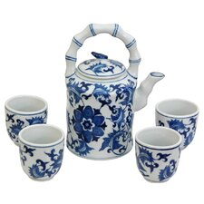 <strong>Oriental Furniture</strong> 5 Piece Porcelain Floral Tea Set in Blue and White