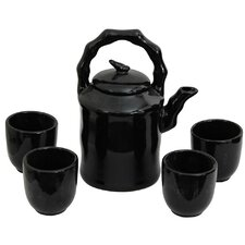 5 Piece Porcelain Tea Set in Black