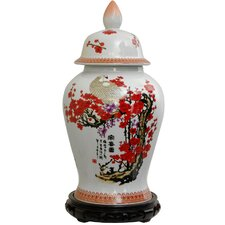 Temple Jar with Cherry Blossom Design in White