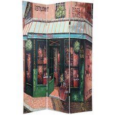 "<strong>Oriental Furniture</strong> 70.88"" x 47"" Double Sided Parisian Street 3 Panel Room Divider"
