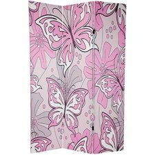 "70.88"" x 47"" Double Sided Butterflies 3 Panel Room Divider"