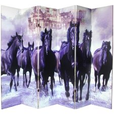 "70.88"" x 94"" Double Sided Horses 6 Panel Room Divider"