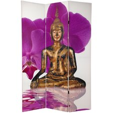 "70.88"" x 47"" Double Sided Thai Buddha 3 Panel Room Divider"