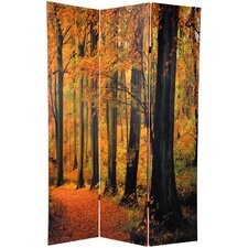 "<strong>Oriental Furniture</strong> 70.88"" x 47"" Double Sided Autumn Trees 3 Panel Room Divider"