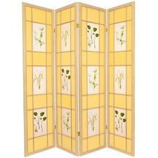 "72"" x 56"" Herbal Floral Shoji 4 Panel Room Divider"