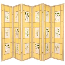 "72"" x 84"" Herbal Floral Shoji 6 Panel Room Divider"