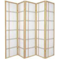 "70"" x 70"" Double Cross Shoji 5 Panel Room Divider"