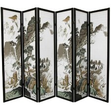 "72"" x 84"" Asian Landscape 6 Panel Room Divider"