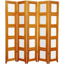 "63"" x 49"" Rosewood Double Sided Photo Display 5 Panel Room Divider"