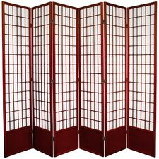 "83.5"" x 86"" Window Pane Shoji 6 Panel Room Divider"