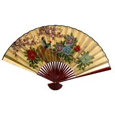 <strong>Oriental Furniture</strong> Gold Leaf Birds and Peonies Fan Wall Décor