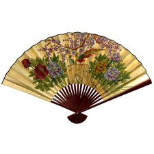 <strong>Oriental Furniture</strong> Gold Leaf Cherry Blossom Fan Wall Décor