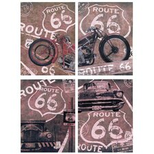 "<strong>Oriental Furniture</strong> Route 66 Canvas Wall Art - 15.75"" x 11.75"" (Set of 4)"
