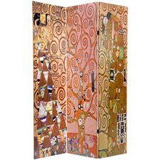 "71.25"" x 47.25"" Double Sided Works of Klimt Stoclet Frieze 3 Panel Room Divider"