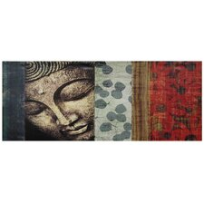 "<strong>Oriental Furniture</strong> Peaking Buddha Statue Canvas Wall Art - 15.75"" x 39.25"""