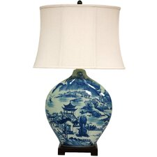 """Landscape Moon Vase 32"""" H Table Lamp with Bell Shade"""