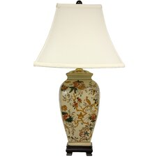 Autumn Birds and Flowers Vase Table Lamp