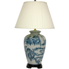 "Chinese Landscape Oriental 29"" H Table Lamp with Empire Shade"