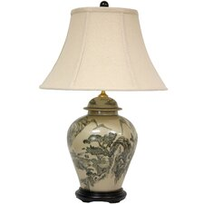 """Xian Landscape Vase 25"""" H Table Lamp with Bell Shade"""