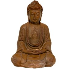 "9"" Japanese Sitting Zenjo Buddha Statue in Faux Rust Oxidized Patina"