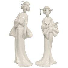 2 Piece Standing Geisha Figurine Set