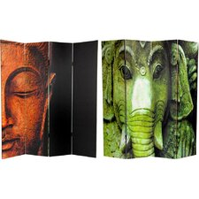 "72"" x 48"" Double Sided Buddha / Ganesh 4 Panel Room Divider"