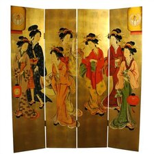 "72"" x 64"" Geisha Decorative 4 Panel Room Divider"