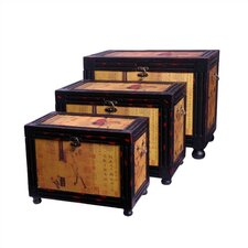 <strong>Oriental Furniture</strong> Raging Stallions Oriental Storage Box (Set of 3)
