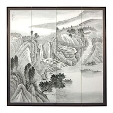 "72"" x 72"" Misty Mountain 4 Panel Room Divider"