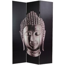 "70.88"" Double Sided Buddha Canvas 3 Panel Room Divider"