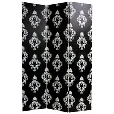 Double Sided Damask Canvas Room Divider in Black and White