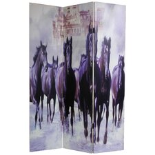 "<strong>Oriental Furniture</strong> 70.88"" x 47.25"" Horses 3 Panel Room Divider"