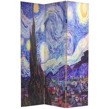 "70.88"" Double Sided Works of Van Gogh Canvas 3 Panel Room Divider"