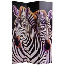 "70.88"" x 47.25"" Elephant and Zebra 3 Panel Room Divider"