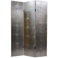 Faux Leather Crocodile Room Divider in Silver